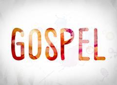 Gospel Concept Watercolor Word Art Stock Illustration