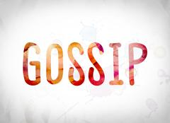Gossip Concept Watercolor Word Art Stock Illustration