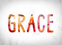 Grace Concept Watercolor Word Art Stock Illustration