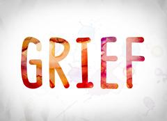 Grief Concept Watercolor Word Art Stock Illustration