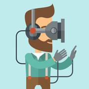 Man with virtual reality headset Stock Illustration