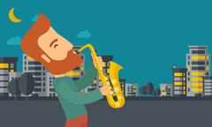 Saxophonist playing in the streets at night Stock Illustration