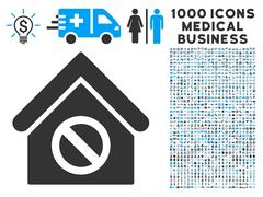 Forbidden Building Icon with 1000 Medical Business Symbols Stock Illustration