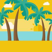 Tropical beach with cloud and sunset Stock Illustration
