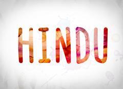 Hindu Concept Watercolor Word Art Stock Illustration