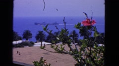 1963: ship and flowers view with the sea and tropics CALIFORNIA Stock Footage