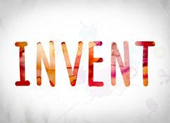 Invent Concept Watercolor Word Art Stock Illustration