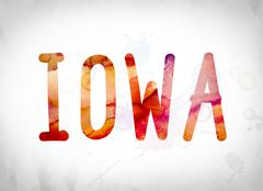 Iowa Concept Watercolor Word Art Piirros