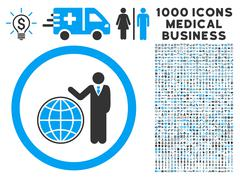 Global Manager Icon with 1000 Medical Business Symbols Stock Illustration