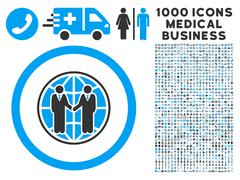 Global Partnership Icon with 1000 Medical Business Pictograms Stock Illustration