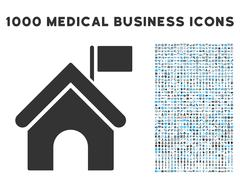 Government Building Icon with 1000 Medical Business Symbols Stock Illustration