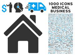 Home Building Icon with 1000 Medical Business Symbols Piirros
