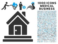 House Front Door Icon with 1000 Medical Business Symbols Stock Illustration