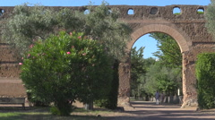 Hadrian's Villa, Tivoli, Italy, view of Pecile's wall Stock Footage