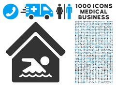 Indoor Water Pool Icon with 1000 Medical Business Symbols Stock Illustration