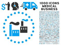 Industry Icon with 1000 Medical Business Pictograms Stock Illustration