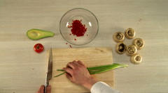 Top view of chef finely cuts red bell pepper Stock Footage