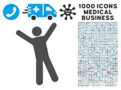 Man Joy Icon with 1000 Medical Business Pictograms Stock Illustration