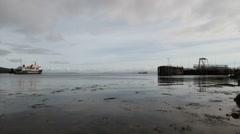 Calmac ferry departing Brodick Arran Scotland Stock Footage