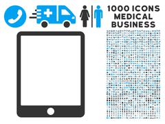 Mobile Tablet Icon with 1000 Medical Business Symbols Stock Illustration