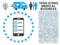 Mobile Test Icon with 1000 Medical Business Pictograms Stock Illustration