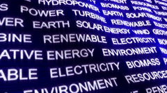 RENEWABLE ENERGY Text Animation and Earth, with Keywords, Loop, 4k Stock Footage