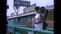 1963: excursion in the old city with seafood in the background CALIFORNIA Stock Footage