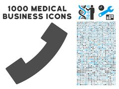 Phone Receiver Icon with 1000 Medical Business Pictograms Stock Illustration