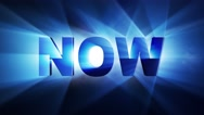 NOW Text Animation Lights Rays, Loop, 4k Stock Footage