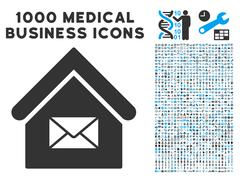 Post Office Icon with 1000 Medical Business Symbols Stock Illustration