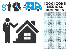 Realty Agent Icon with 1000 Medical Business Symbols Stock Illustration