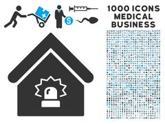 Realty Alarm Icon with 1000 Medical Business Pictograms Stock Illustration