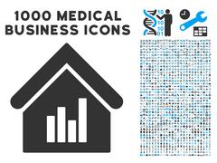 Realty Bar Chart Icon with 1000 Medical Business Pictograms Stock Illustration