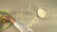 View of chef flouring table for rolling dough Stock Footage