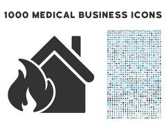 Realty Fire Disaster Icon with 1000 Medical Business Symbols Stock Illustration