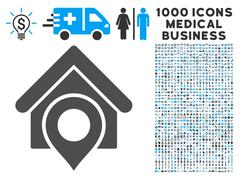 Realty Location Icon with 1000 Medical Business Pictograms Stock Illustration