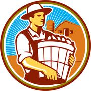 Organic Farmer Harvest Basket Circle Retro Stock Illustration