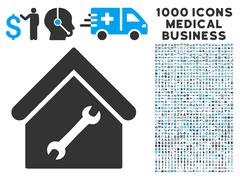 Repair Building Icon with 1000 Medical Business Pictograms Stock Illustration