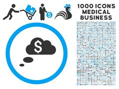 Richness Dream Clouds Icon with 1000 Medical Business Pictograms Stock Illustration