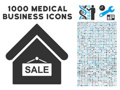 Sale Building Icon with 1000 Medical Business Symbols Stock Illustration