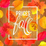 Watercolor imitation autumn foliage vector sale banner. Prices fall lettering Stock Illustration
