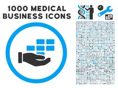 Service Schedule Icon with 1000 Medical Business Pictograms Stock Illustration