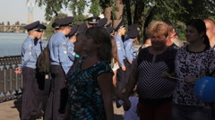 Group of police of Ukraine on holiday Stock Footage