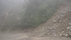 Mud slide and wrecked road in Ecuador Stock Footage