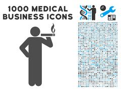 Smoking Man Icon with 1000 Medical Business Pictograms Stock Illustration