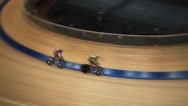 Indoor Cycle race on the track motion blur Stock Footage