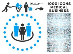 Society Icon with 1000 Medical Business Symbols Stock Illustration