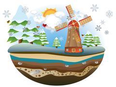Winter Windmill Island Stock Illustration