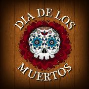 Day Of The Dead Skull Vector poster background. Dia de los muertos Stock Illustration