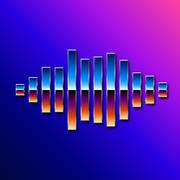 80s styled chrome sound wave Piirros